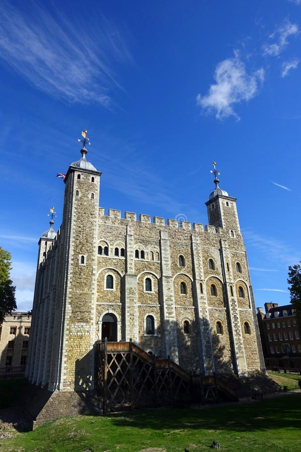 """White Tower Within The Tower of London Complex. View of the south face of the White Tower located within the Tower of London complex. Known as the """"Old stock images"""