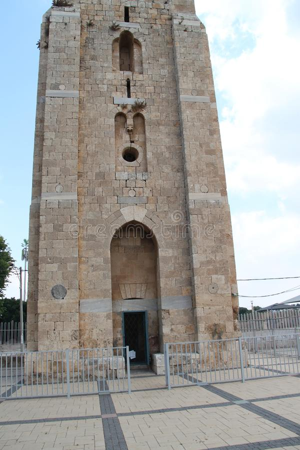 The White Tower, Ramla, Israel. The White Tower is a historic famous guard tower located in the center of the old city of Ramla, Israel stock image