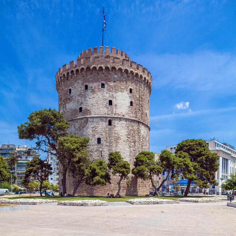 White Tower - Symbol of City, Thessaloniki stock images