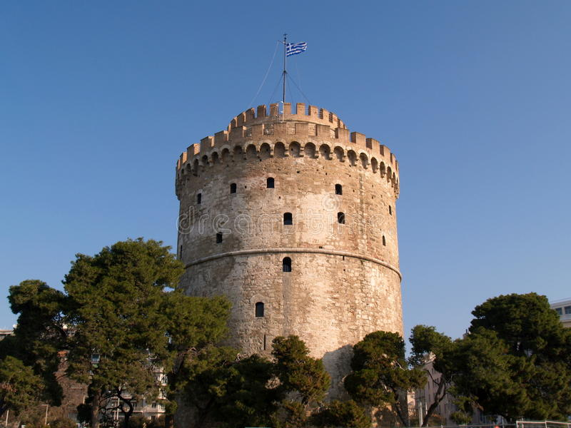 White Tower of Thessaloniki stock images