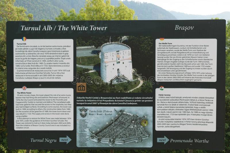 White Tower Touristic info panel. In Brasov, Romania, Europe stock photography
