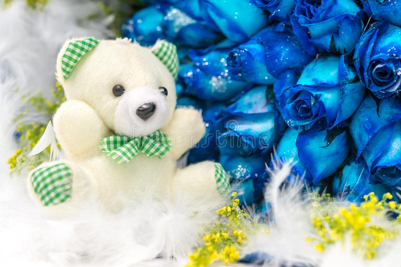Bear and flower. A white toy bear and many blue roses royalty free stock images