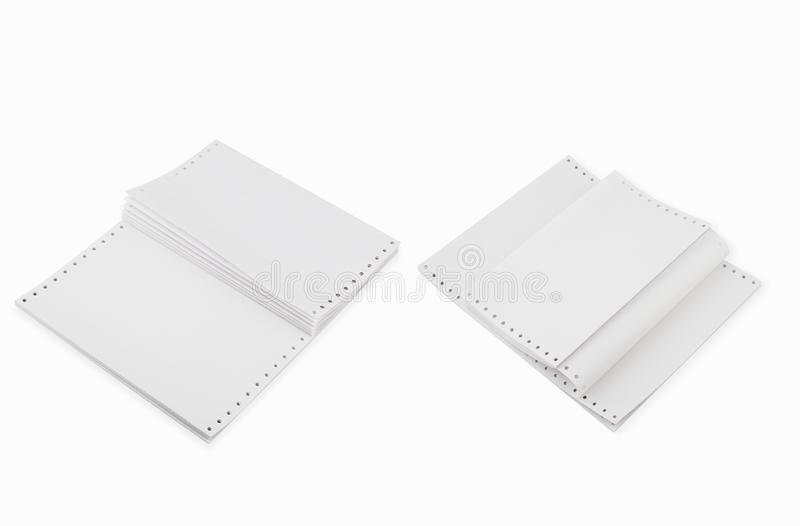 White Tractor-Feed Paper or fan-fold paper , Continuous dot matrix tractor feed printer paper For use with dot-matrix and line. Blank Computer Paper.White royalty free stock photos