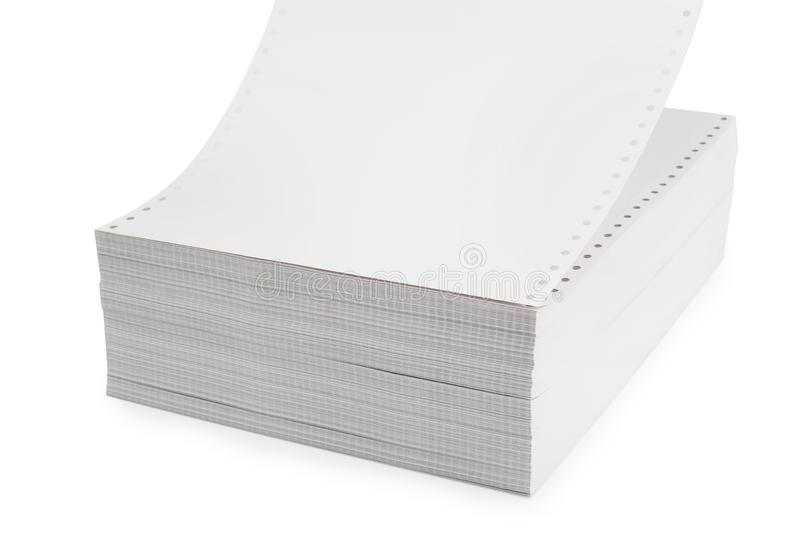 White Tractor-Feed Paper or fan-fold paper , Continuous dot matrix tractor feed printer paper For use with dot-matrix and line. Printers with appropriate paper royalty free stock image