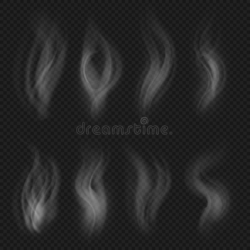 White transparent smoke collection. Hot steam from food isolated on checkered background vector set royalty free illustration