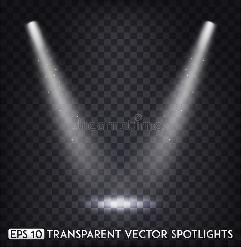 White Transparent Vector Spot Lights / Spotlights Effect For Party, Scene, Stage,Gallery or Holiday Design stock illustration