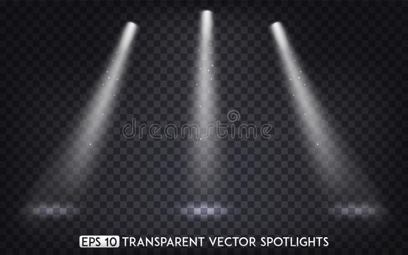 White Transparent Vector Spot Lights / Spotlights Effect For Party, Scene, Stage,Gallery or Holiday Design.  royalty free illustration