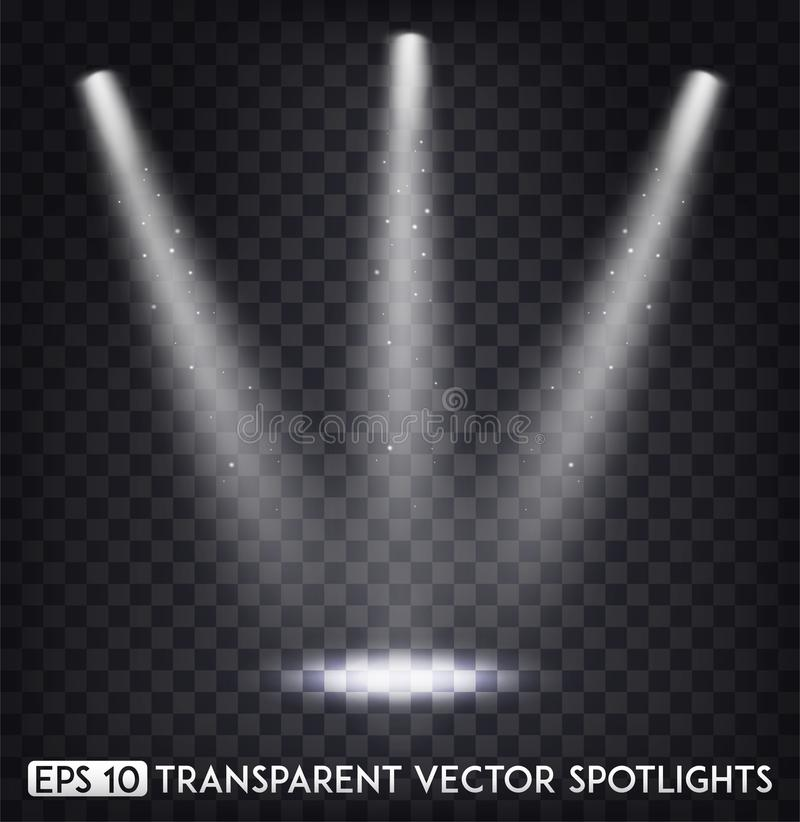 White Transparent Vector Spot Lights / Spotlights Effect For Party, Scene, Stage, Gallery or Holiday Design.  stock illustration