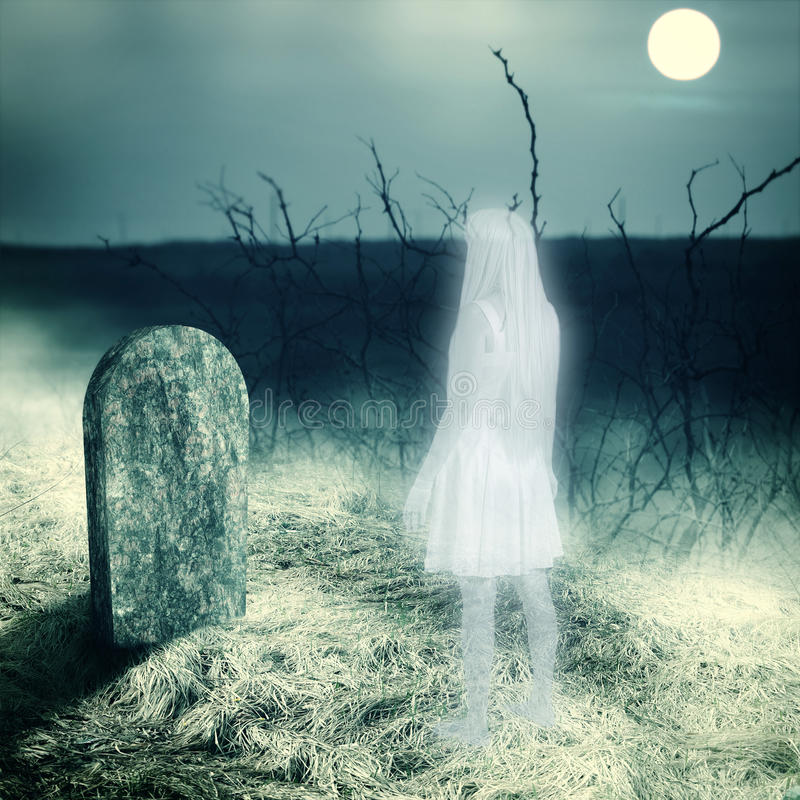 White transparent woman ghost on cemetery vector illustration