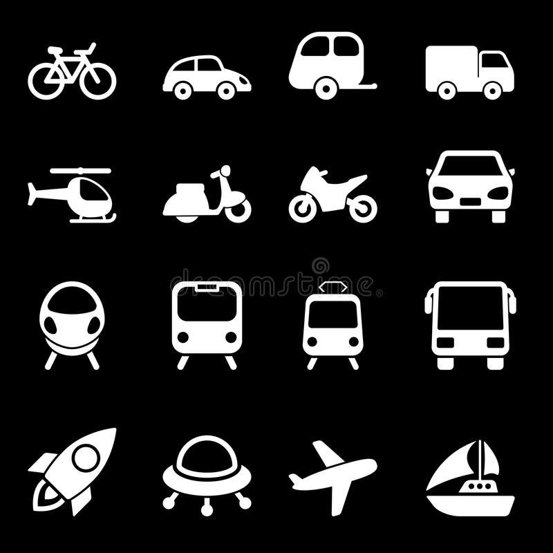 White Transport Icons. Set with Vector. Illustration royalty free illustration