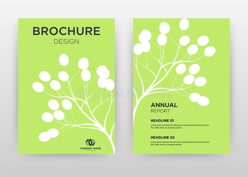 White tree, flower petal on green design for annual report, brochure, flyer, poster. Green background vector illustration for. Flyer, leaflet, poster. Business stock illustration