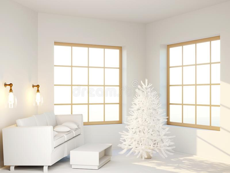 A white tree stands in the  living room next to the sofa. Beautiful modern interior in white color. 3d render stock illustration