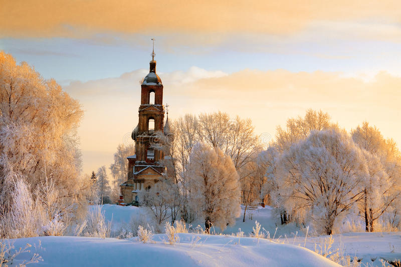 Download White Trees On Hill Around Old Church Stock Image - Image: 23604971