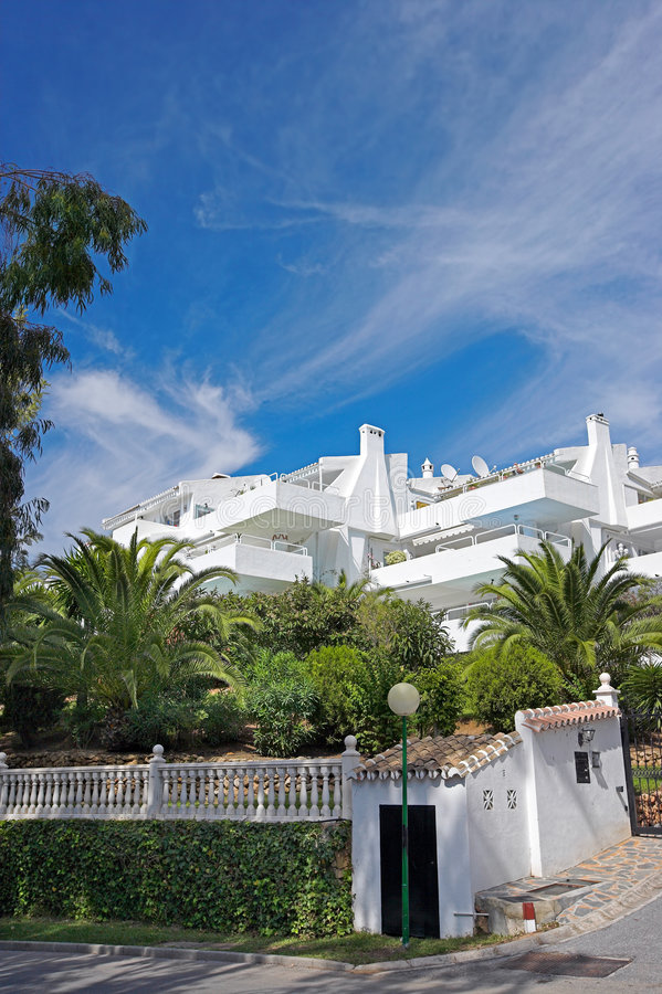 White tropical resort building royalty free stock image