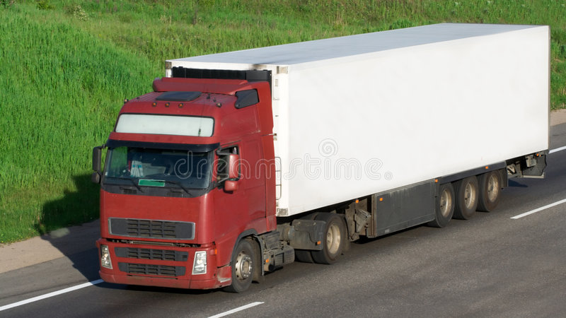 The white truck stock photo
