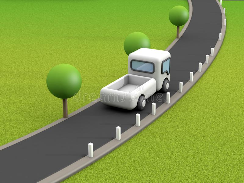 White truck on country road with trees and green grass field cartoon style 3d render. Ing stock illustration