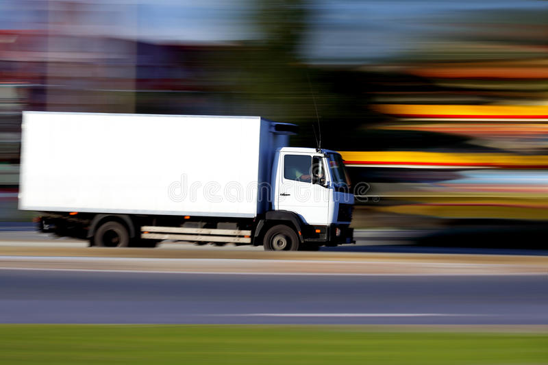White truck is gonig soon stock images