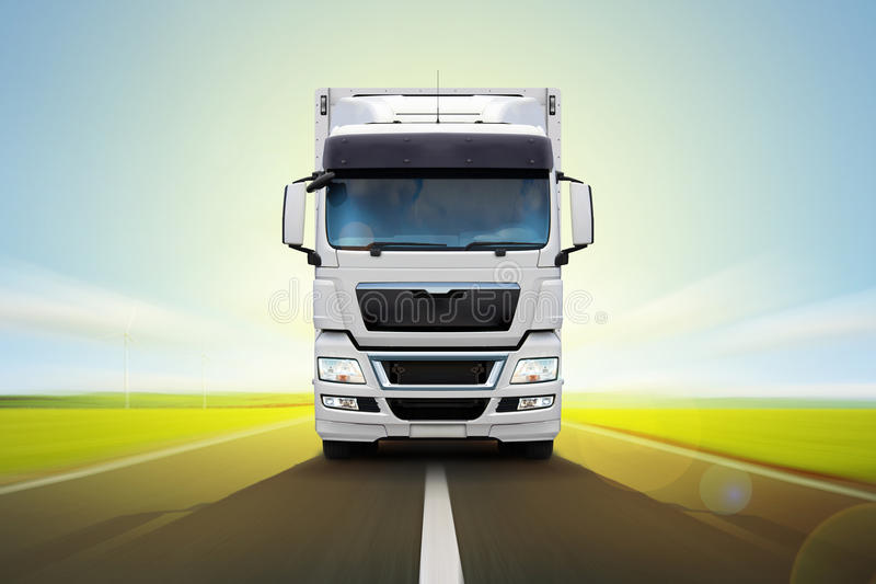 White truck Man is moving rapidly on the road. vector illustration