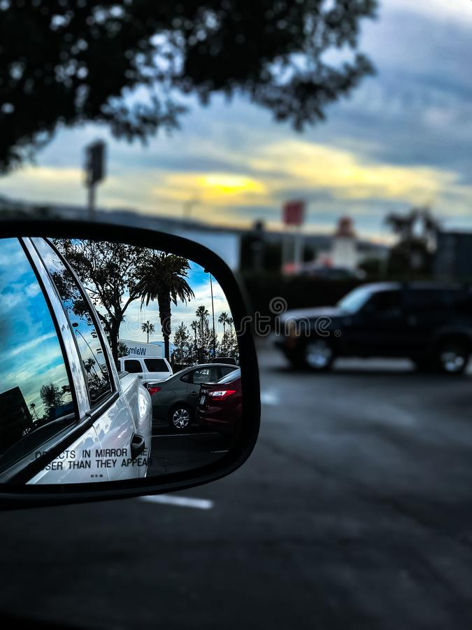 White Truck Mirror With Dramatic Sky stock photography