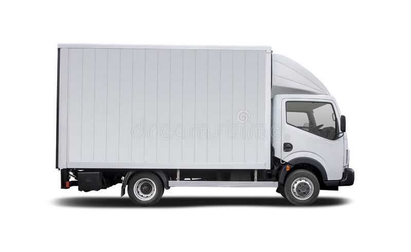 White truck Renault Maxity isolated on white royalty free stock image