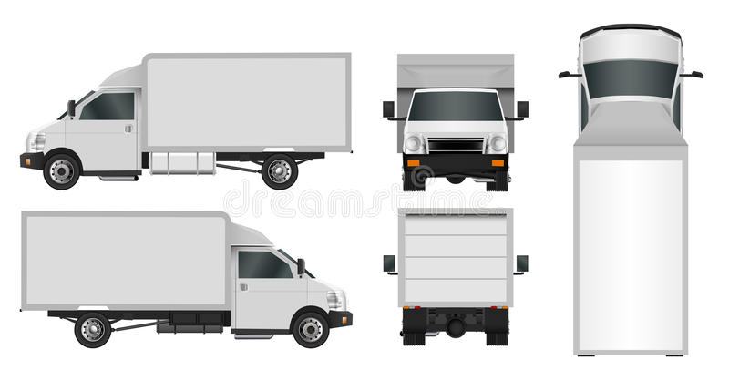 White truck template. Cargo van Vector illustration eps 10 isolated on white background. City commercial car delivery service. stock illustration