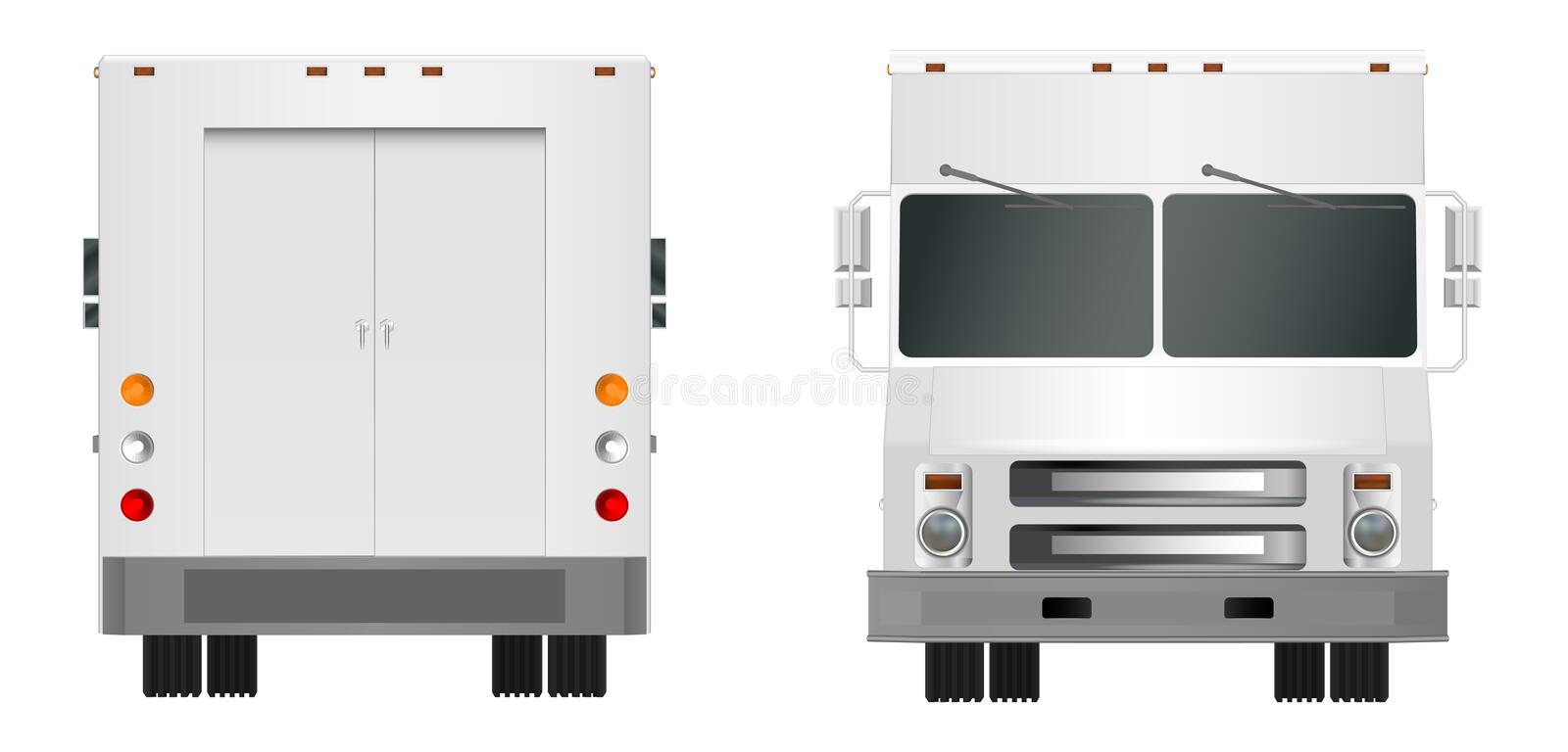 White truck template. Cargo van Vector illustration EPS 10 isolated on white background. City commercial vehicle delivery. royalty free illustration