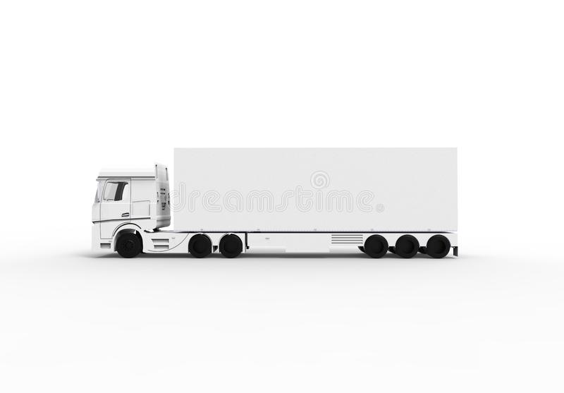 White truck with trailer isoalted vector illustration