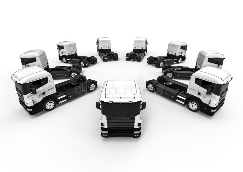 White trucks arranged in a circle royalty free illustration