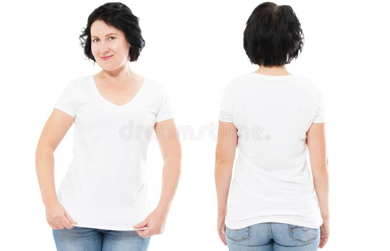 White tshirt set, woman in style T-shirt isolated on white background, tshirt mock up, blank shirt stock image