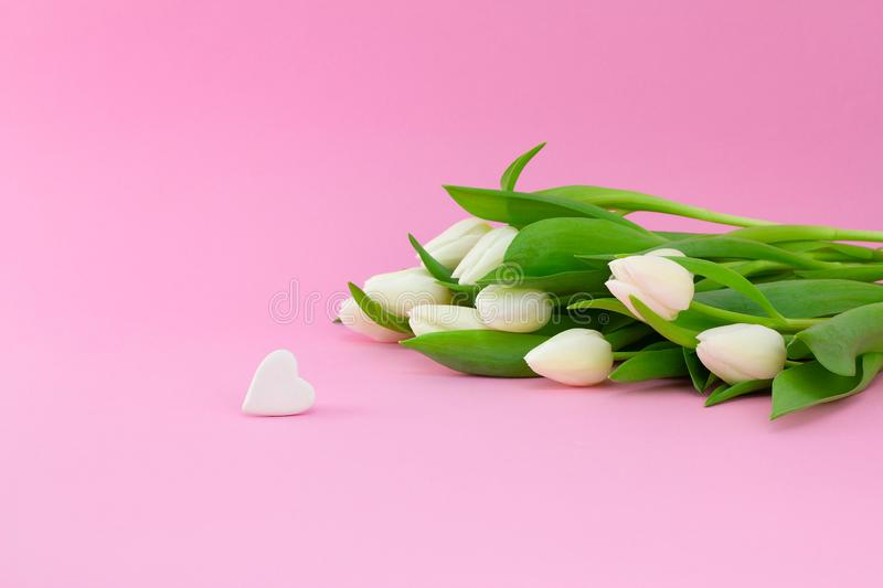 White tulips and heart shaped stone on the pink background. Side view. Horizontal Valentines background or abstract love concept stock photo