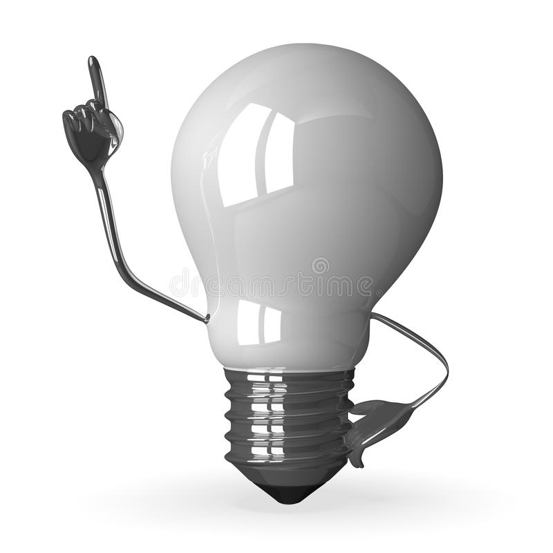 White Tungsten Light Bulb Character In Moment Of Insight Stock Illustration Image 45067247