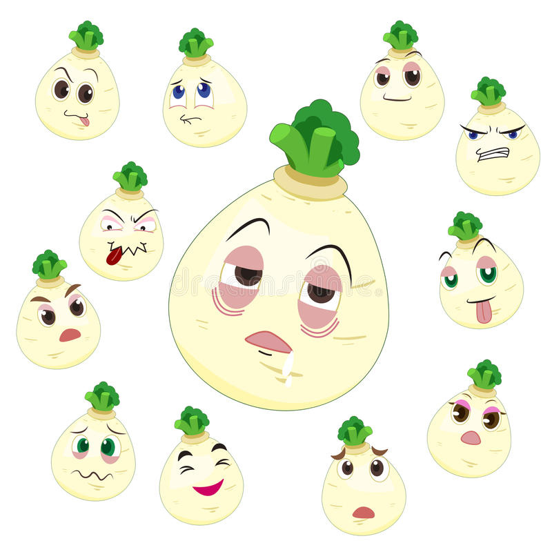 White turnip cartoon with many expressions. Isolated on white background vector illustration