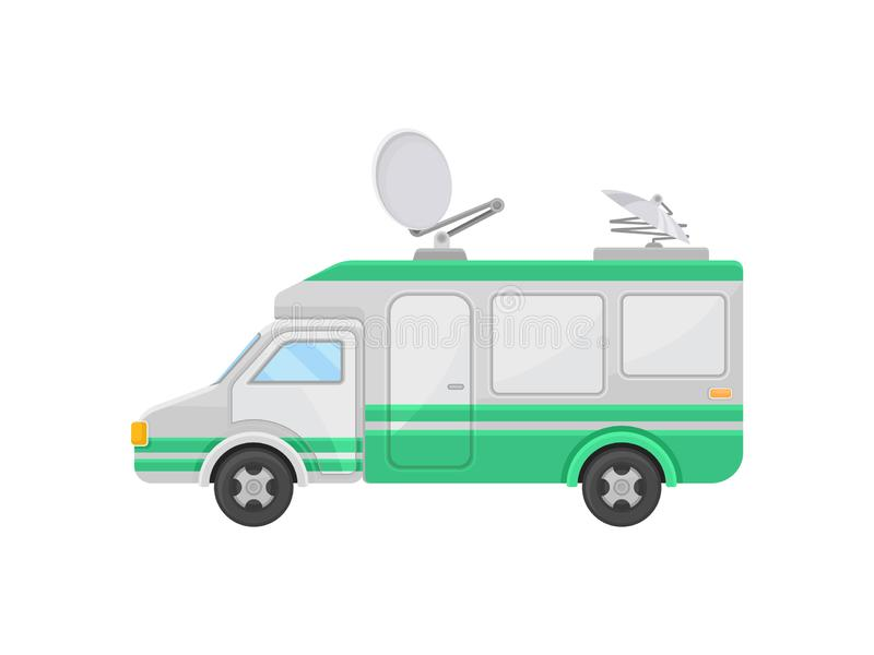 Outside broadcast van, side view. Truck with satellite dish antennas on roof. TV broadcasting car. Flat vector design stock illustration