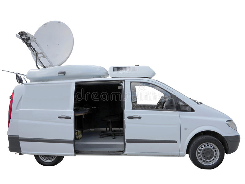 White tv newsman van with satellite dish antenna isolated over w. Hite background stock image