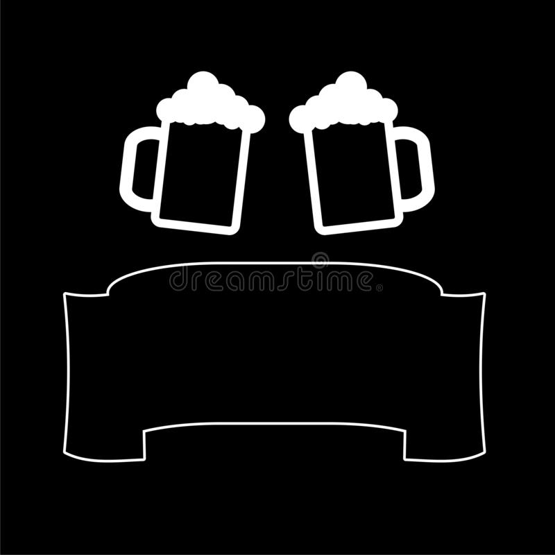 Two Mugs of Beer clink, with ribbon for text applicable for menu restaurant icon or logo on dark background royalty free illustration