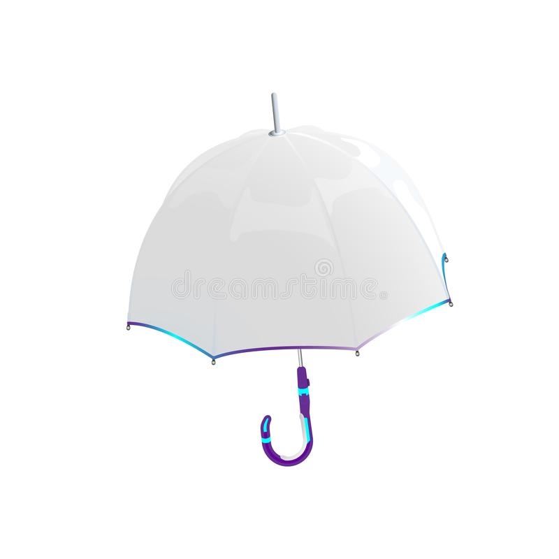 White umbrella. Protection against bad weather from futuristic materials. Realistic vctors illustration of modern opened umbrella, stock illustration