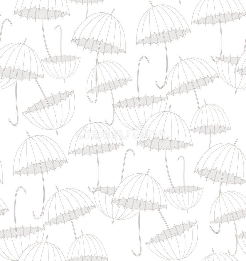 White umbrellas. Pattern. Vector pattern illustration with white umbrellas stock illustration