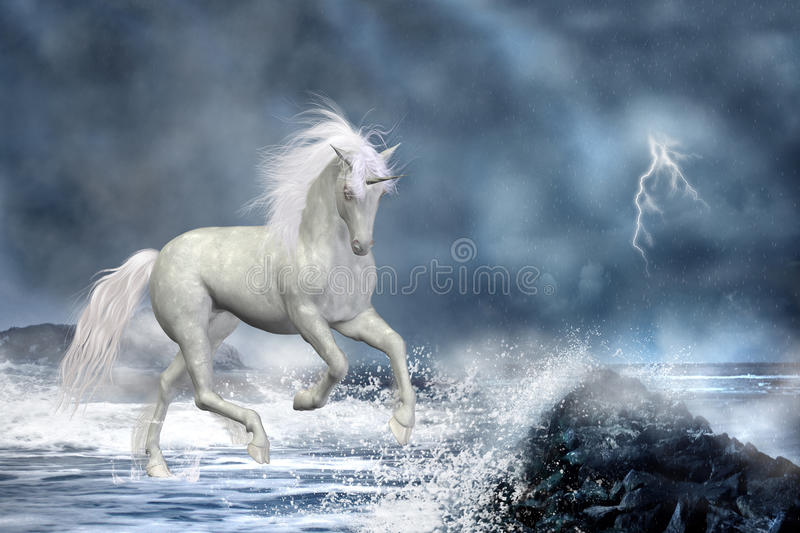 White unicorn. 3d render of white unicorn