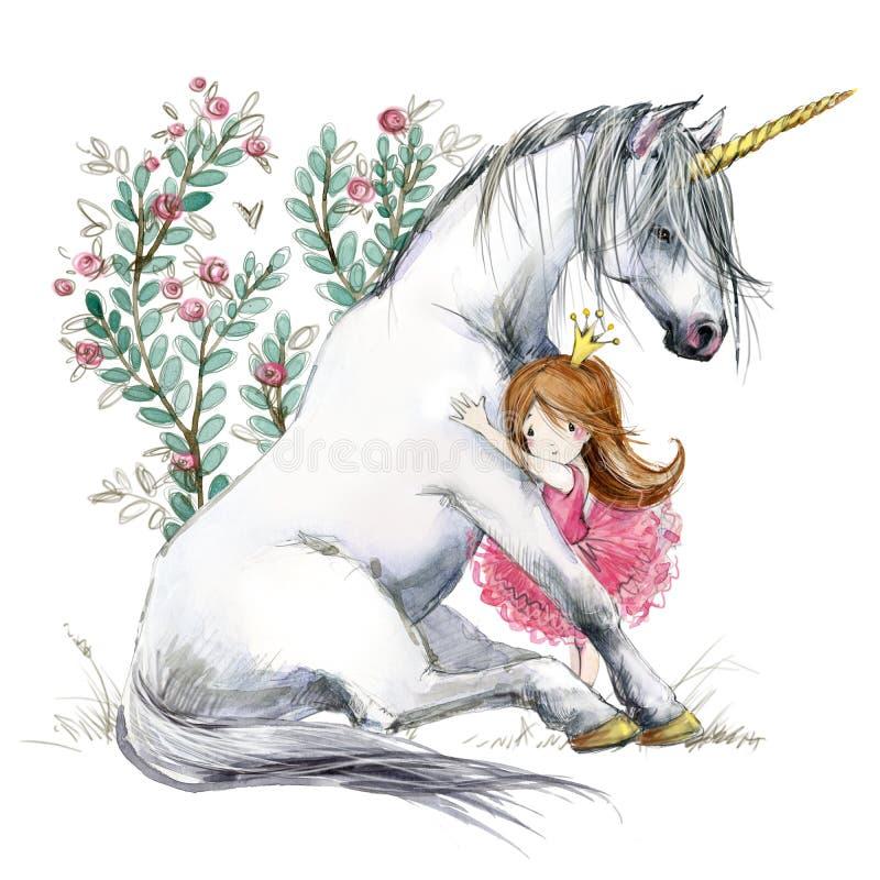 Free White Unicorn And Princess Watercolor Hand Drawn Illustration Royalty Free Stock Image - 186170556