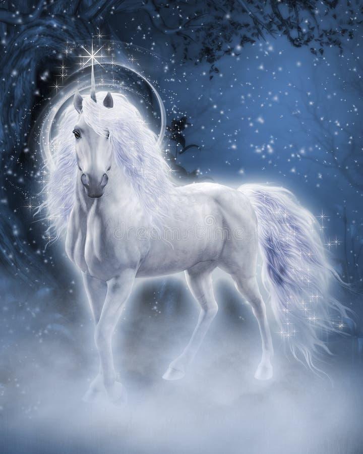 White Unicorn. Fantasy scene with a white unicorn in the evening forest stock illustration
