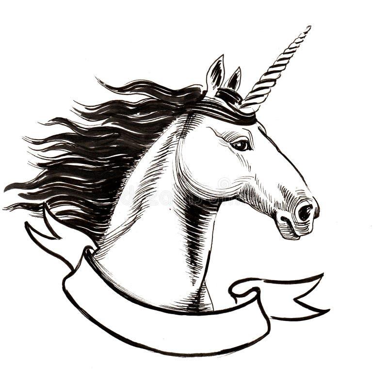 White unicorn vector illustration
