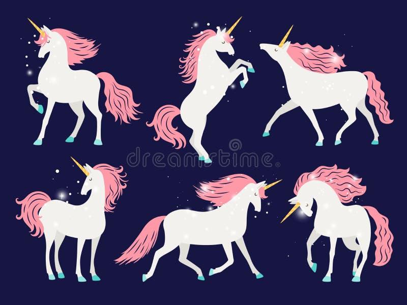 White unicorn with pink mane. Cartoon pretty unicorn horse with rose mane for girls t-shirt design vector illustration. White unicorn with pink mane. Cartoon vector illustration