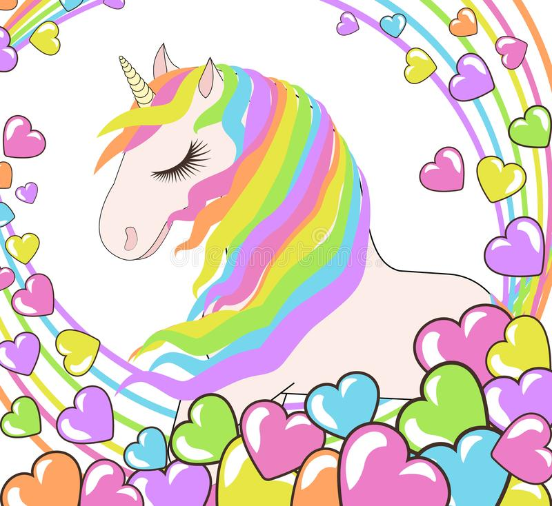 White Unicorn with rainbow hair and hearts vector illustration for children design. Cute fantasy animal. Love background royalty free illustration