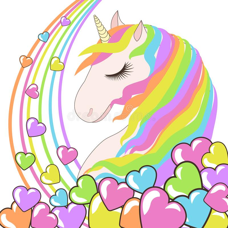 White Unicorn with rainbow hair and hearts vector illustration for children design. Cute fantasy animal. Love background stock illustration