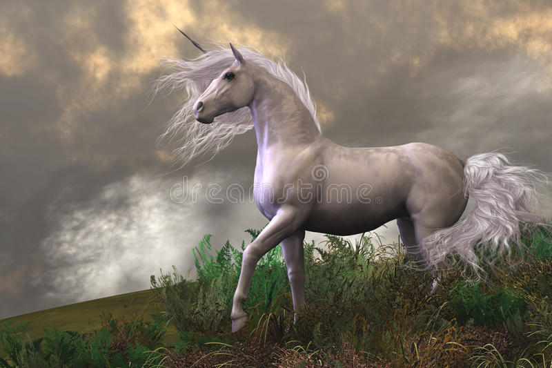 White Unicorn Stallion vector illustration