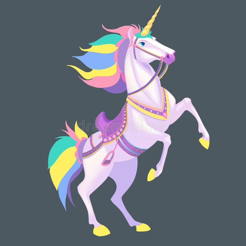 White Unicorn vector illustration for children design. Rainbow hair. Isolated. Cute fantasy animal. White Unicorn vector illustration for children design royalty free illustration
