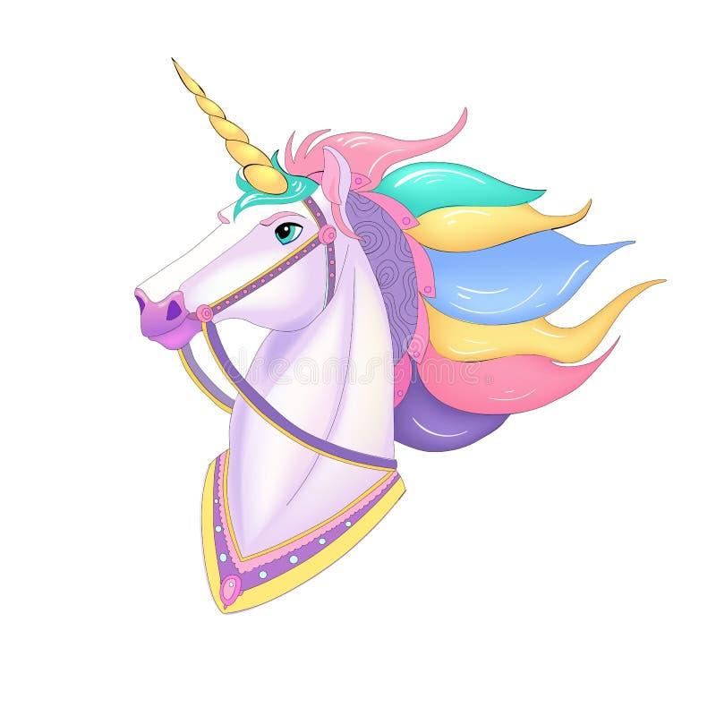 White Unicorn vector illustration for children design. Rainbow hair. Isolated. Cute fantasy animal. Typography design. EPS 10 royalty free illustration
