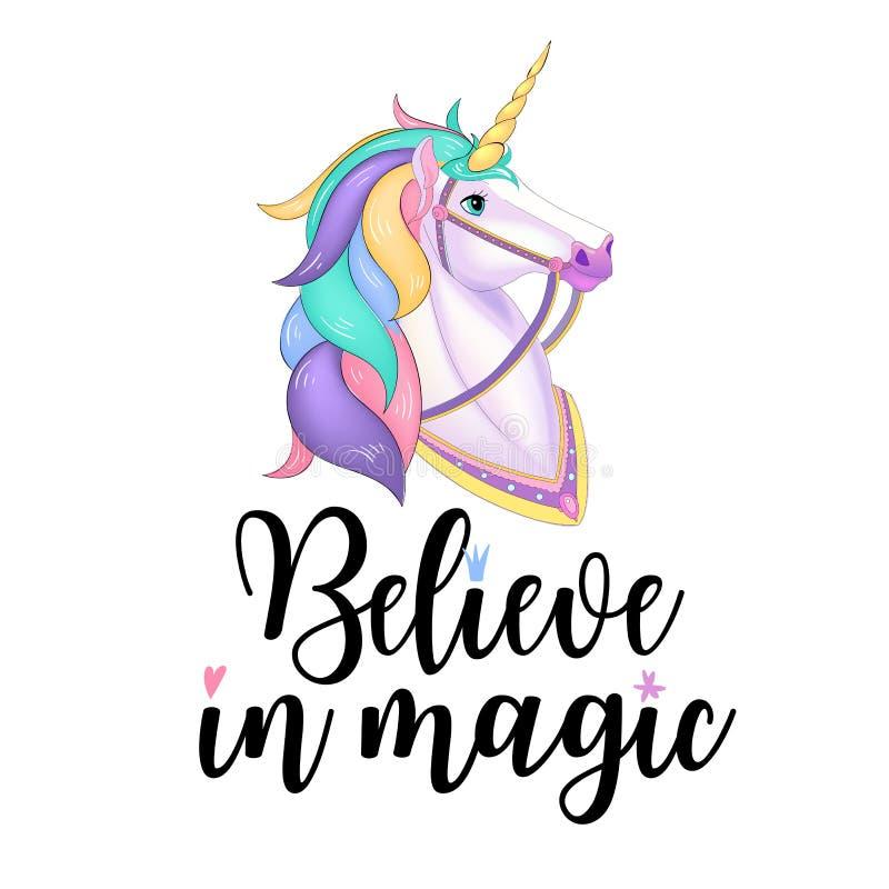 White Unicorn vector illustration for children design. Rainbow hair. Isolated. Cute fantasy animal. Typography design. EPS 10 stock illustration