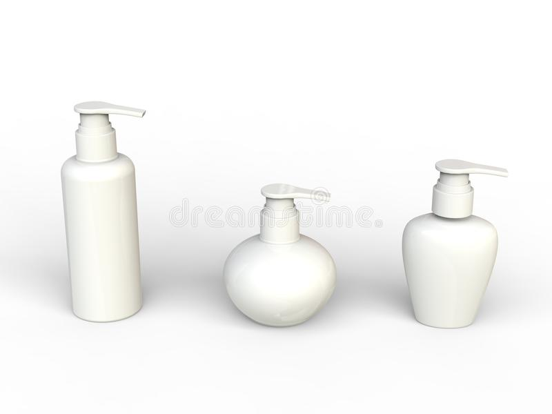 White unlabled beauty creme bottles. Isolated on white background royalty free illustration
