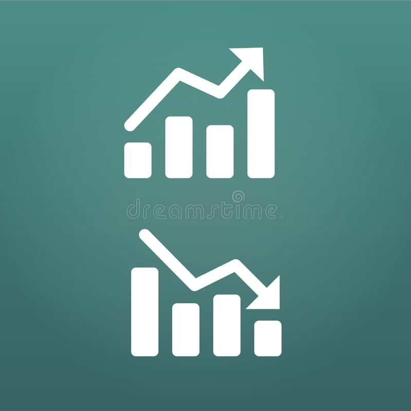 White up and down Graph Icon in trendy flat style isolated on modern background. Chart symbol for your web site design, logo, app,. UI, presentation, report royalty free illustration